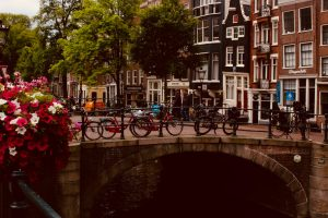 Bikes in Amsterdam on bridge
