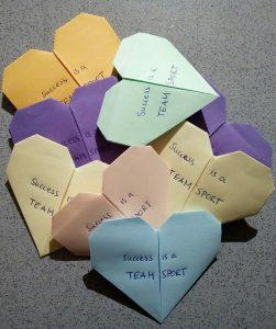origami hearts Success is a teamsport